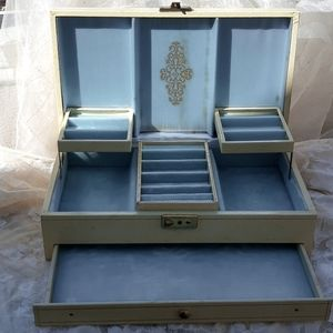 Mele Ivory & Blue Velvet Jewelry Box Pull-out Tray
